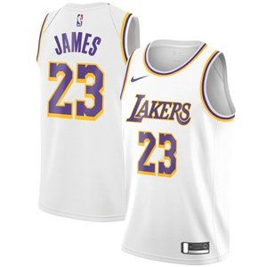 Men's Los Angeles Lakers LeBron James White Jersey